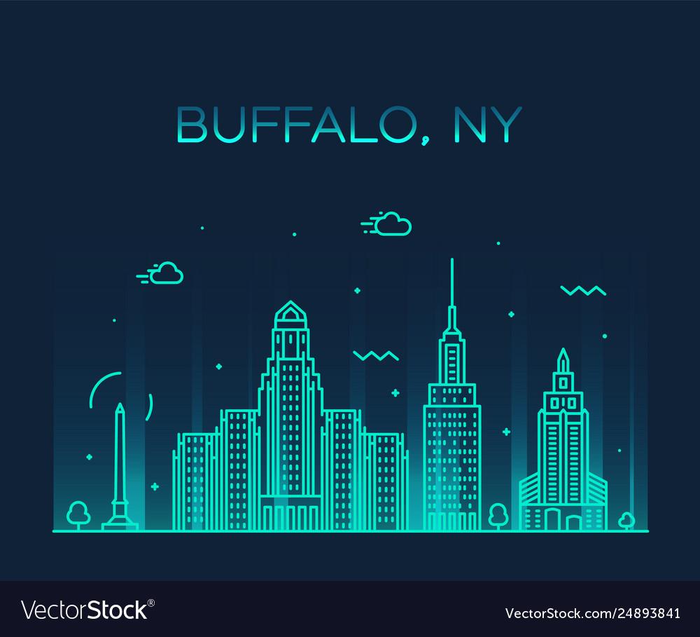 Buffalo skyline new york usa linear style