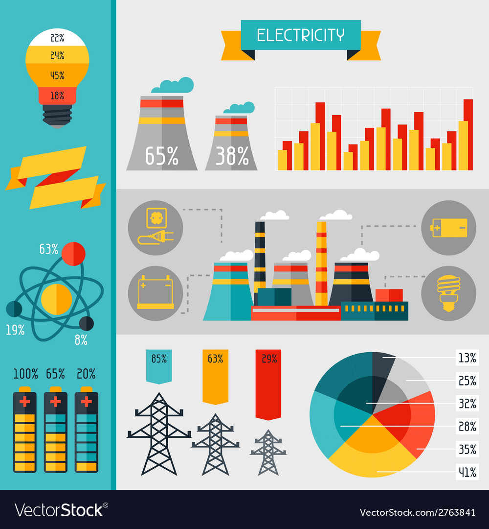 Electricity set of industry power infographic in