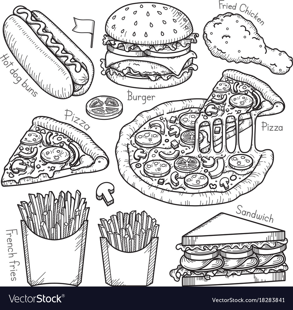 Fast food doodle elements hand drawn style
