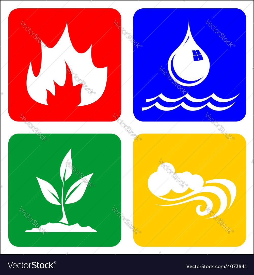 Icons for Earth Air Fire and Water