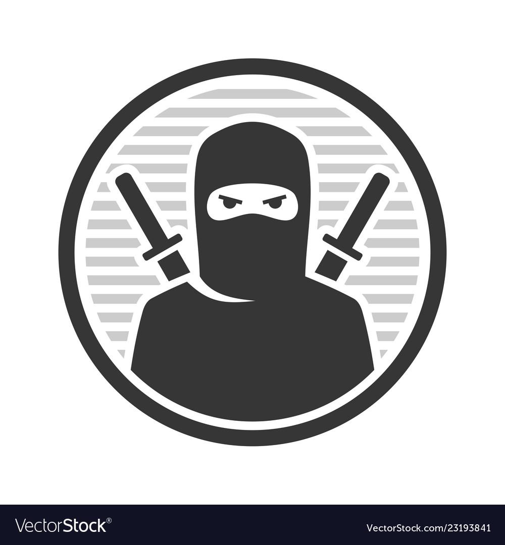 Ninja warrior logo icon on white background