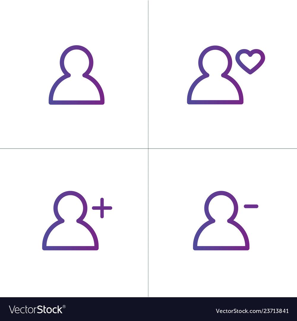 Purple linear outline person icon set user icon