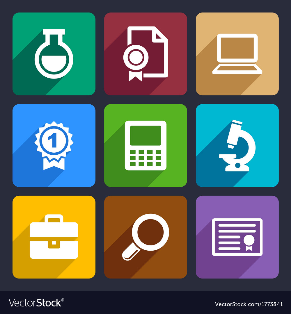 School and education flat icons set 26 vector image