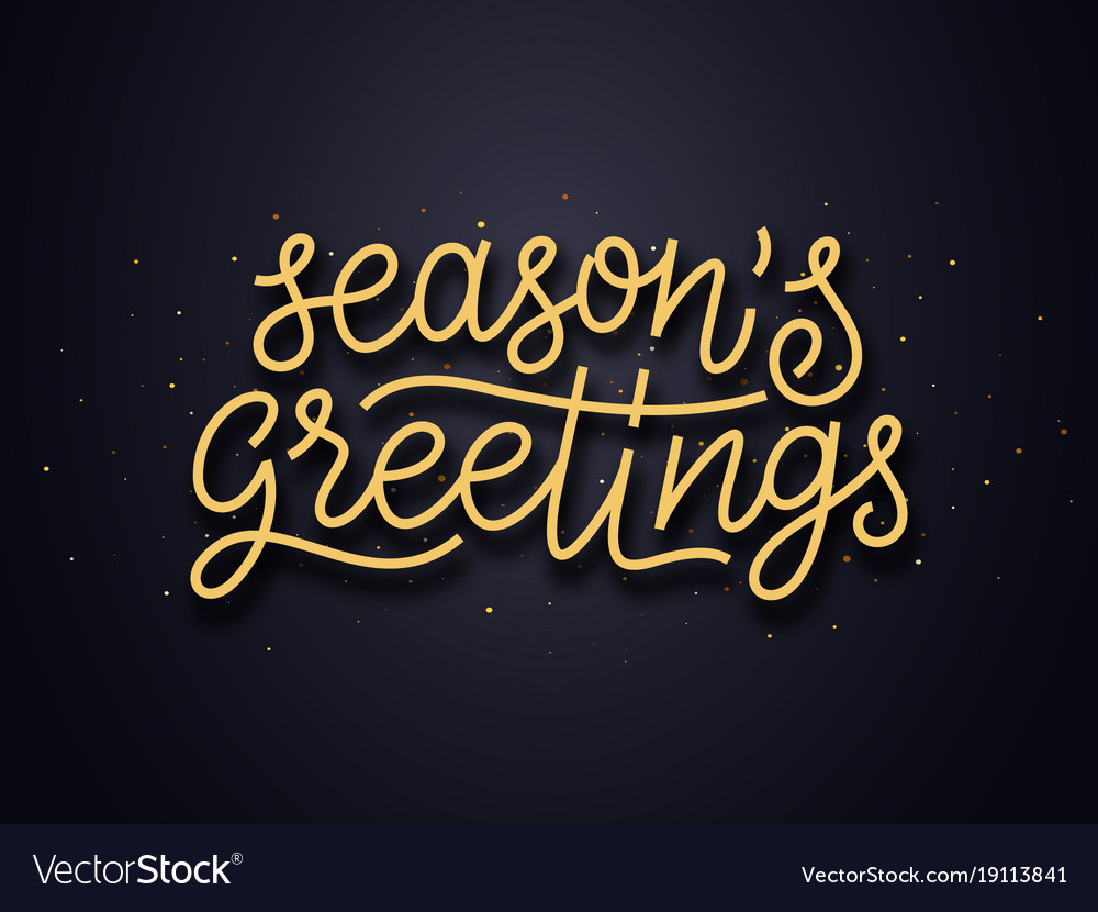 Seasons Greetings Typography Card Royalty Free Vector Image
