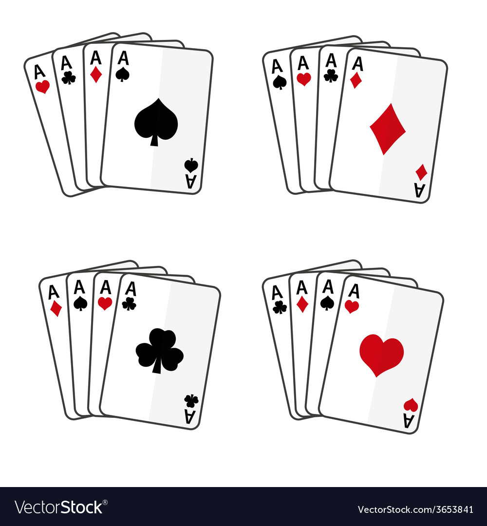 Sets of playing cards with four aces eps10