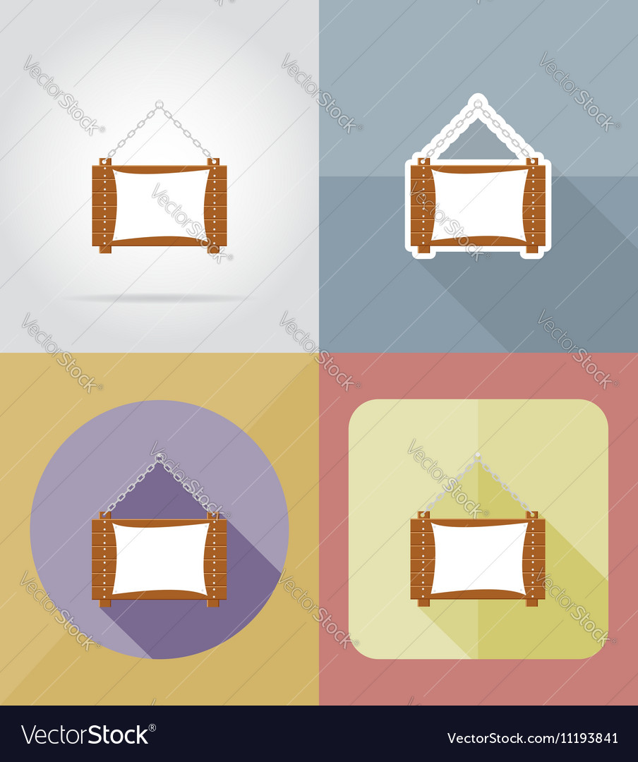 Wooden board flat icons 06 vector image