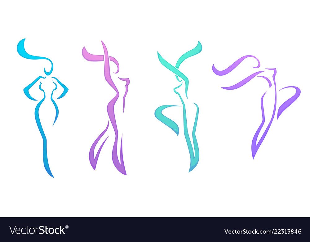 Collection of abstract women in dancing poses