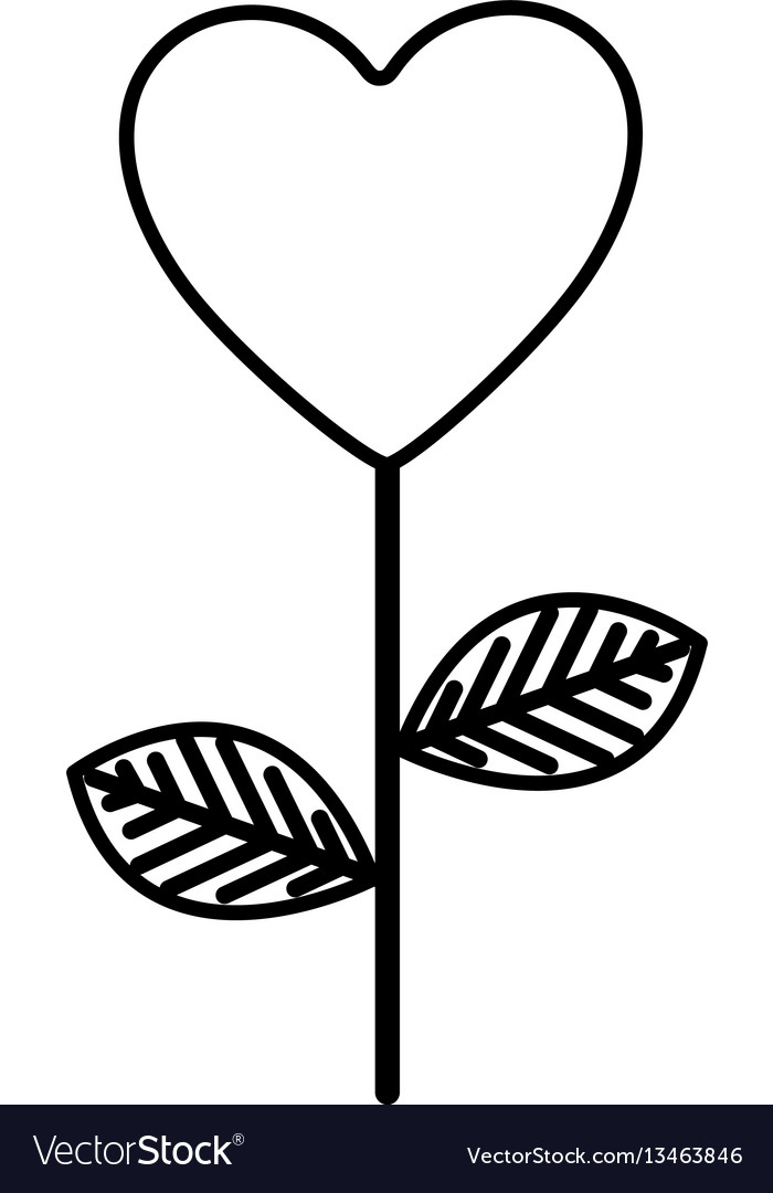 Figure heart balloon plant icon