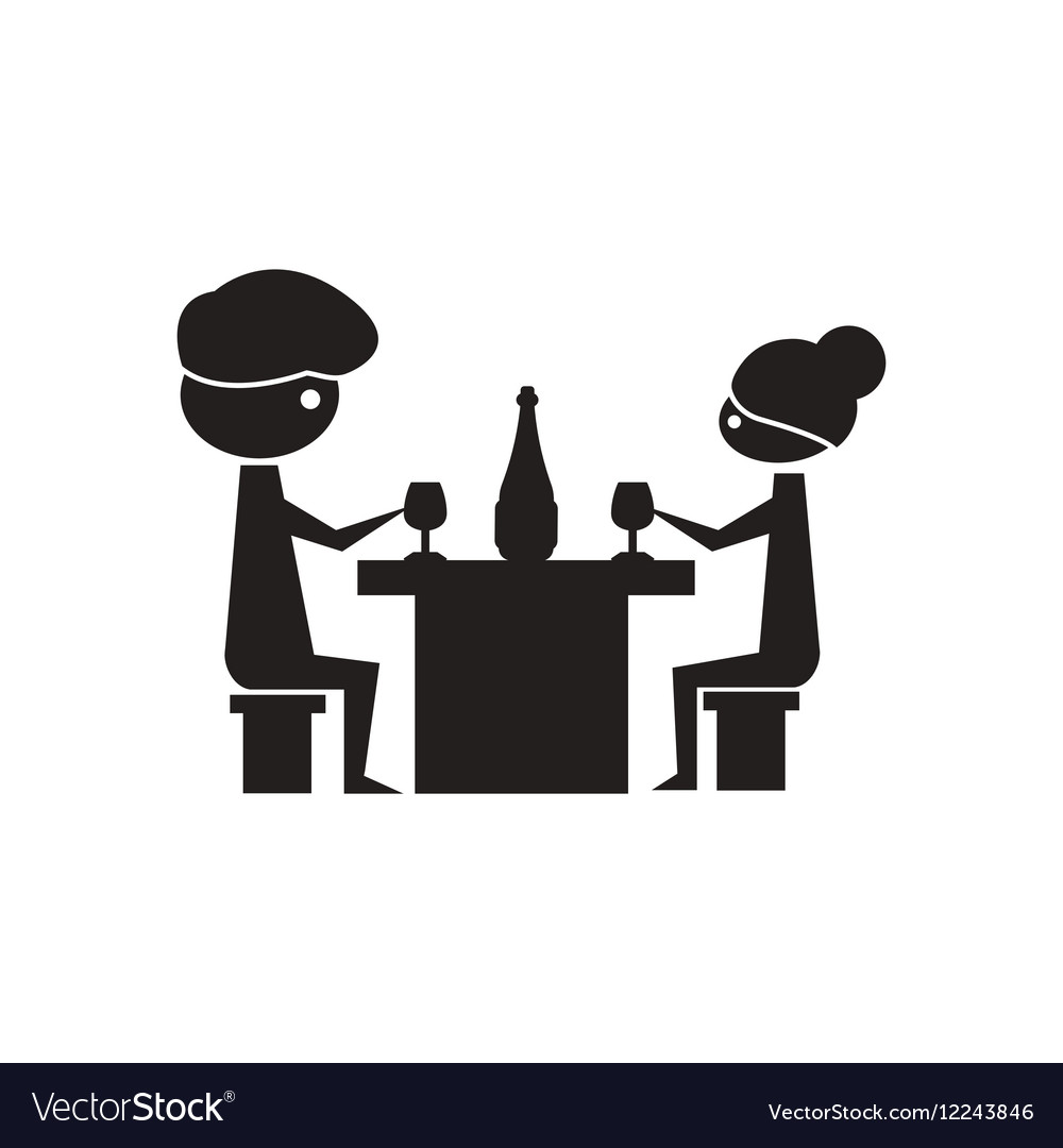 Flat icon in black and white couple dinner vector image