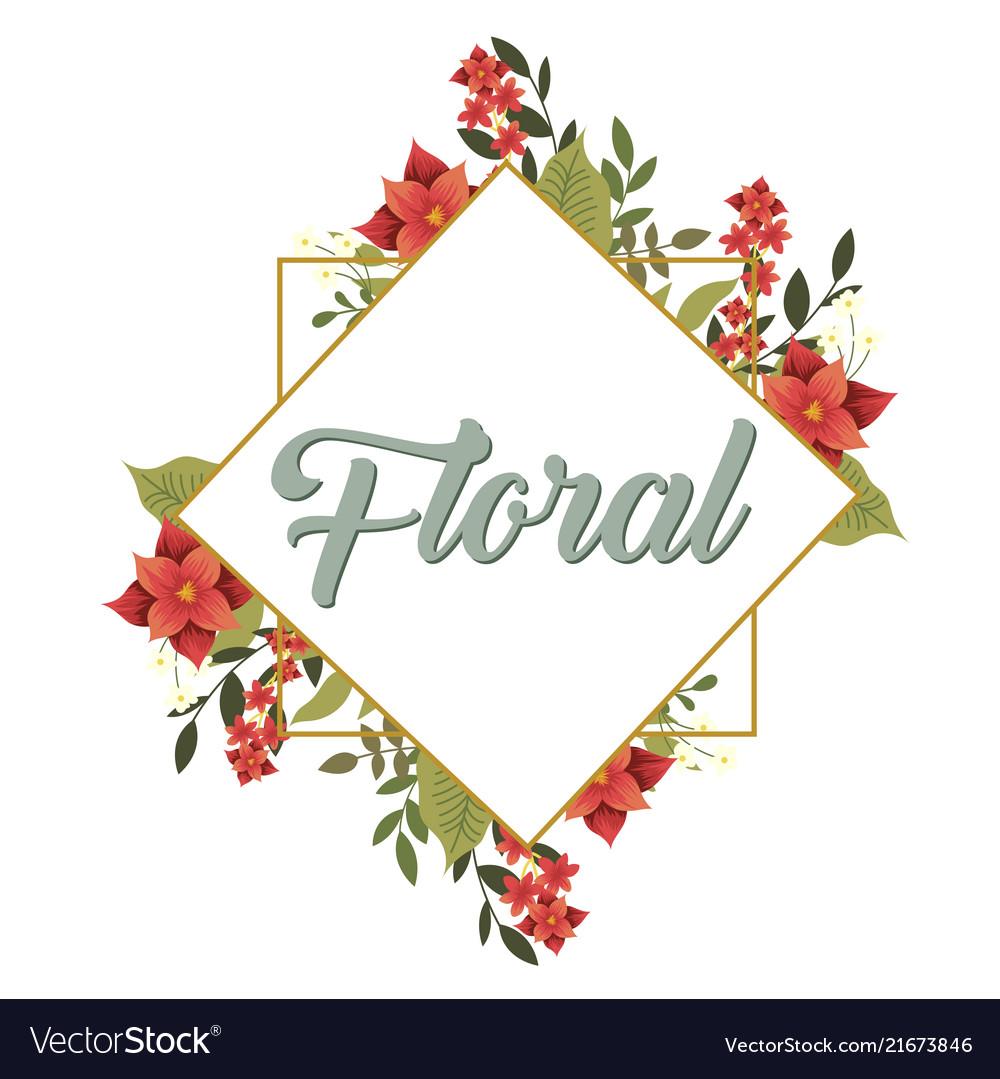 Floral flower overlap square frame white backgroun