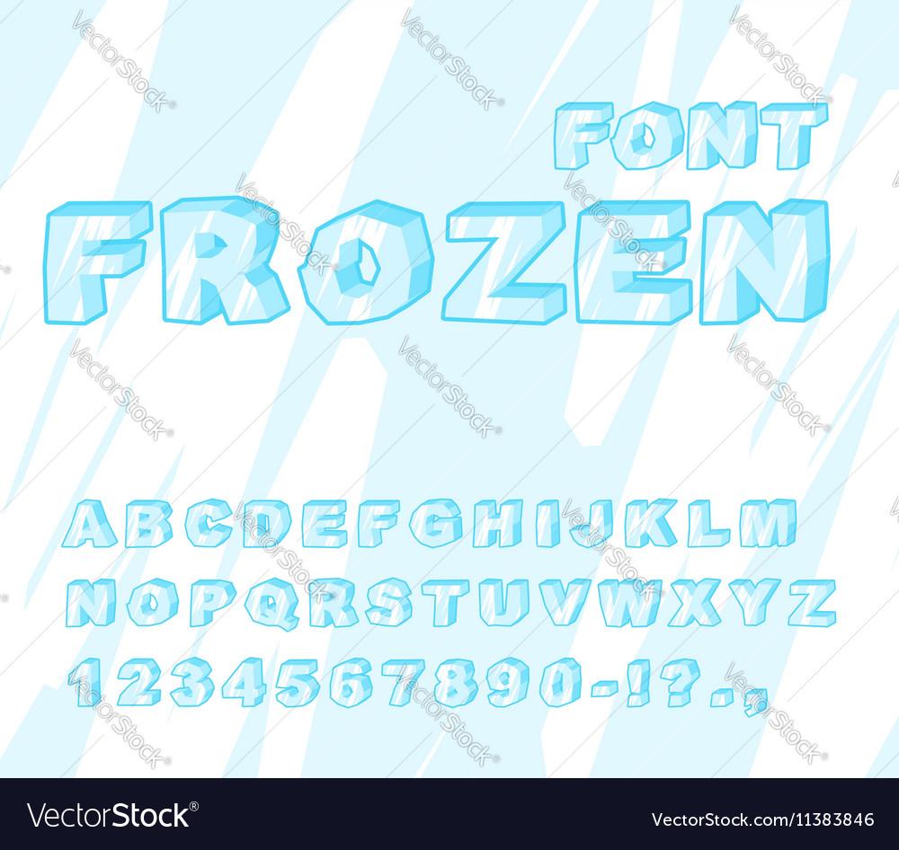 Frozen font Ice alphabet Transparent ABC Cold blue
