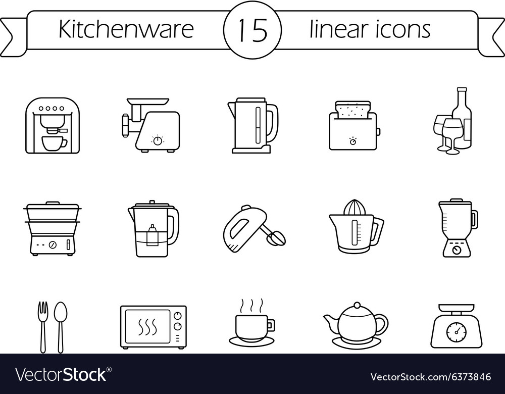 Kitchenware linear icons set vector image