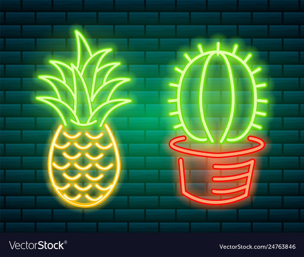 Neon signs and icons cactus and pineapple