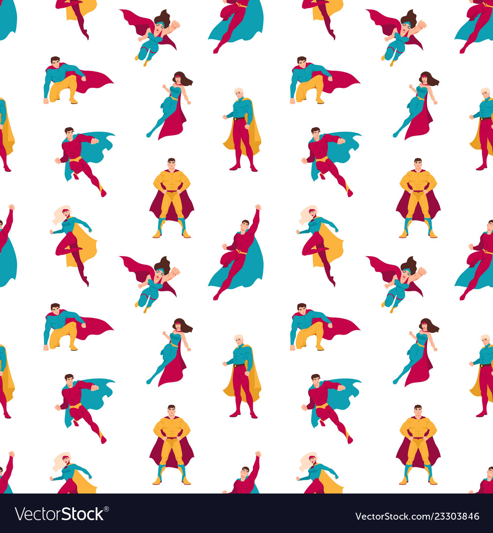 Seamless pattern with superheroes or men and women
