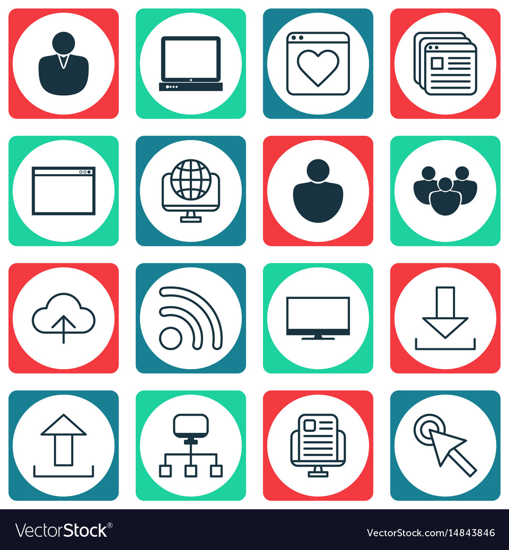 Set of 16 web icons includes login wifi account