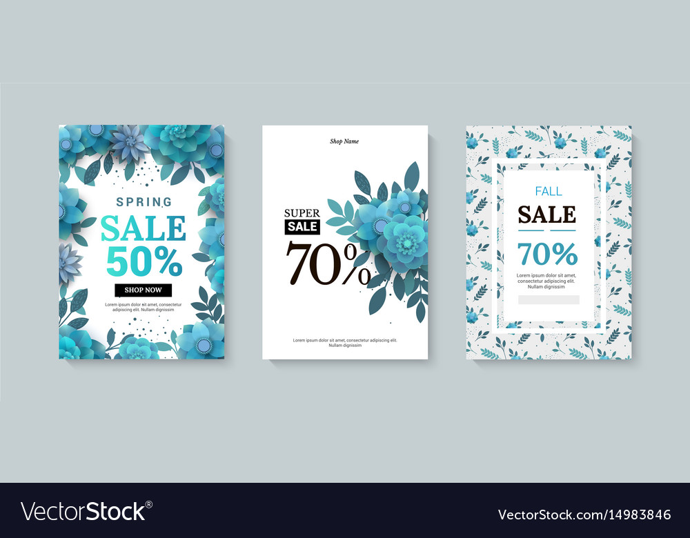 Set of sale banner with paper flowers on a white