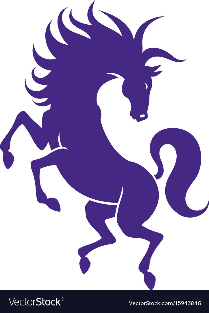 Silhouette of strong powerful horse vector image