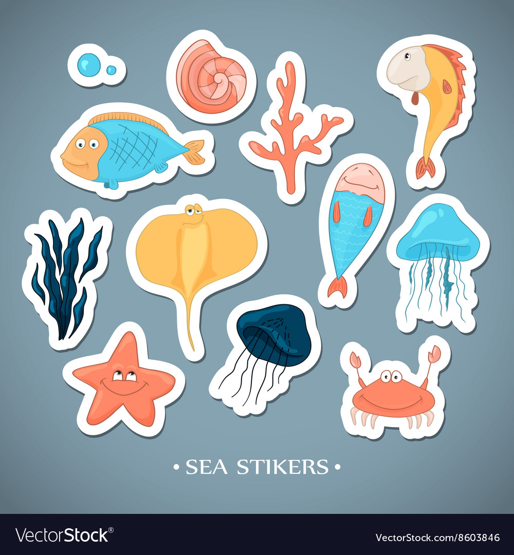 Stickers with marine life Cartoon vector image