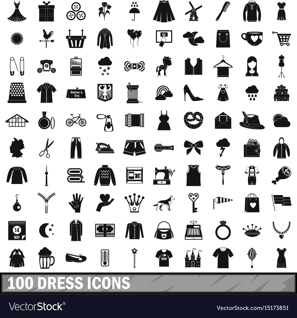 100 dress icons set simple style vector image