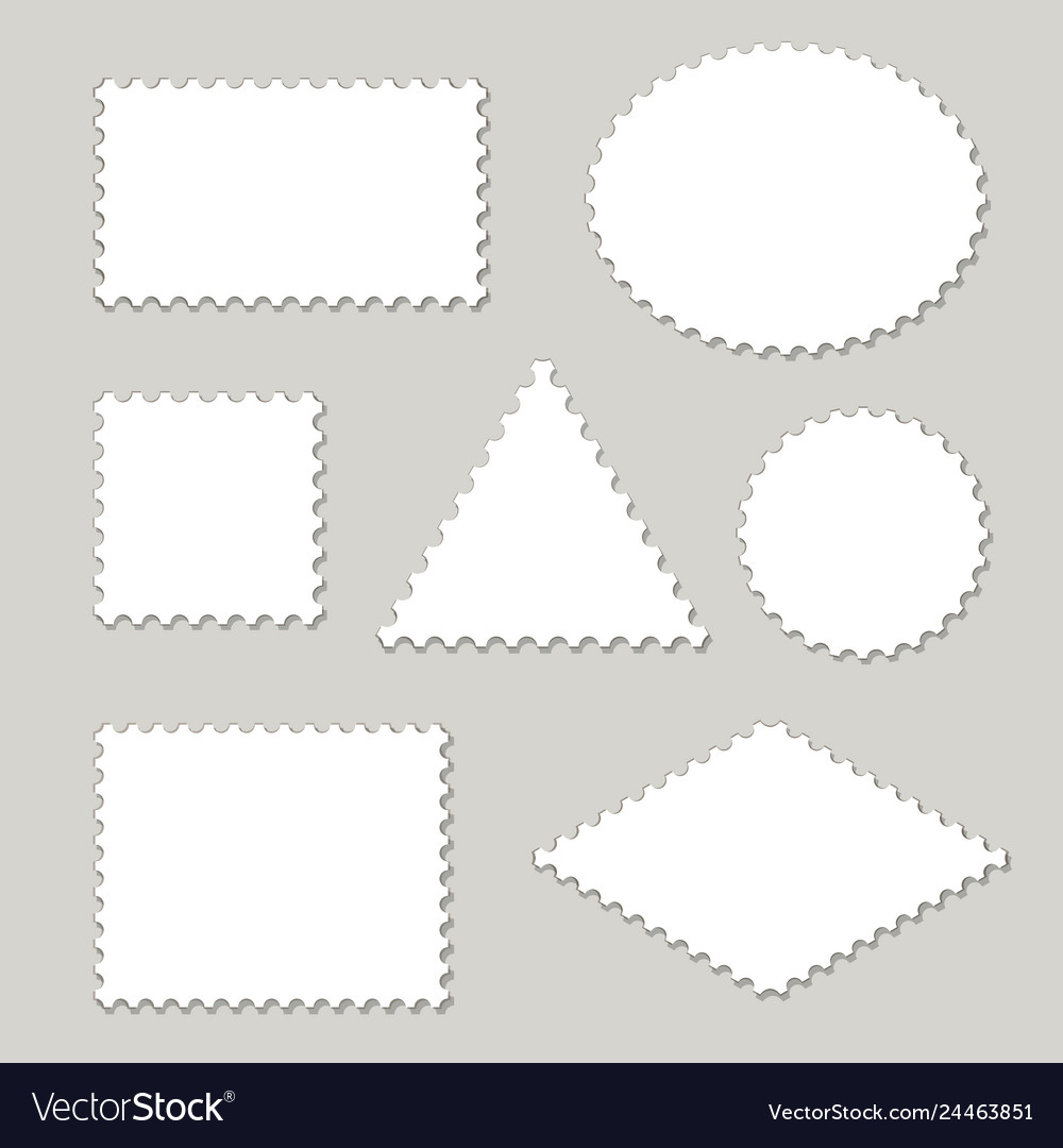 Blank postage stamps different shapes set