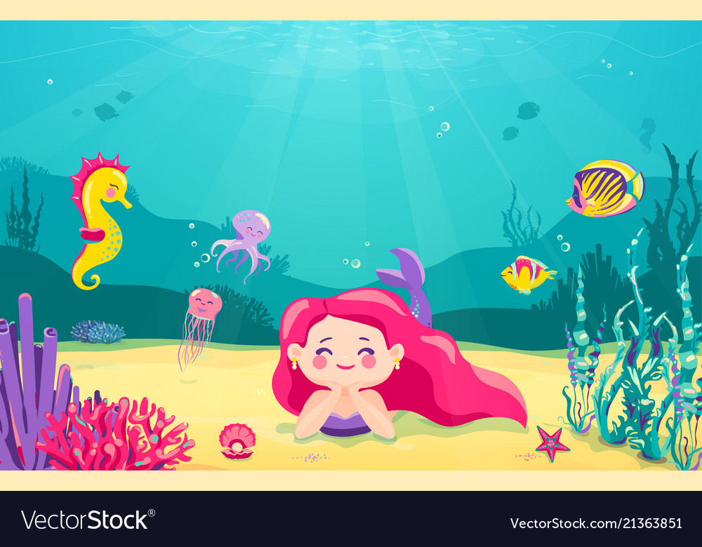 Cartoon mermaid background with fish rocks coral