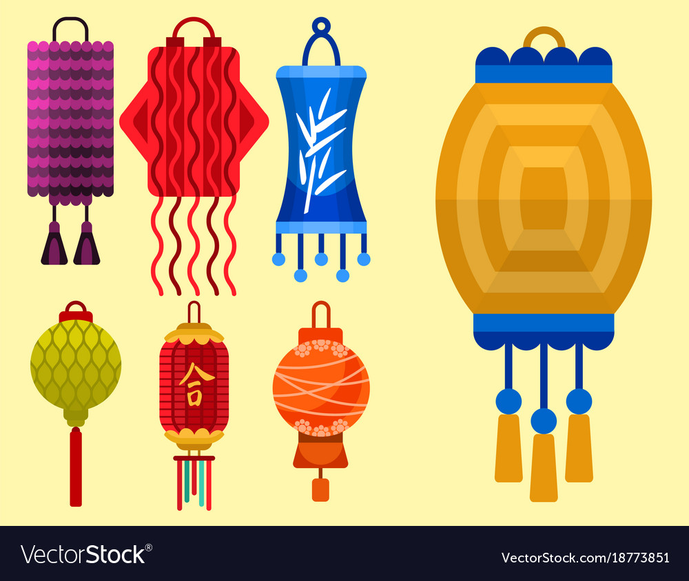 Chinese lantern paper holiday celebrate graphic vector image