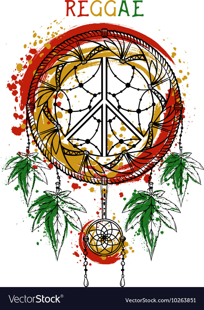 Dreamcatcher with cannabis leaves peace symbol