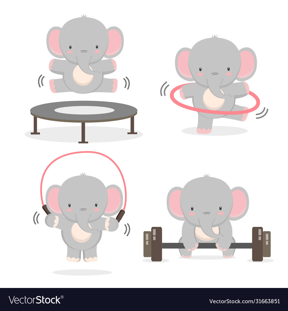Funny Elephant Doing Exercise Royalty Free Vector Image