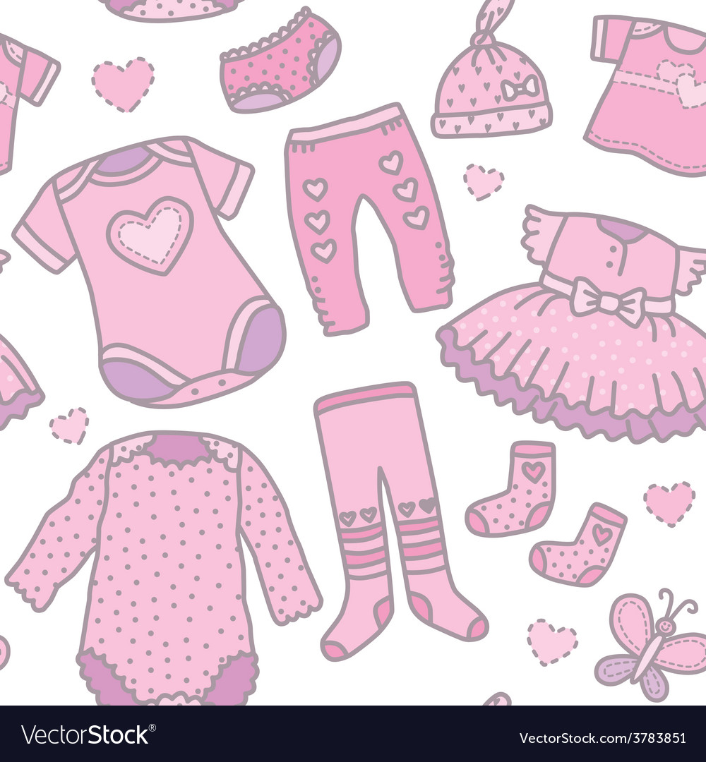 Seamless pattern bagirls clothes Royalty Free Vector Image