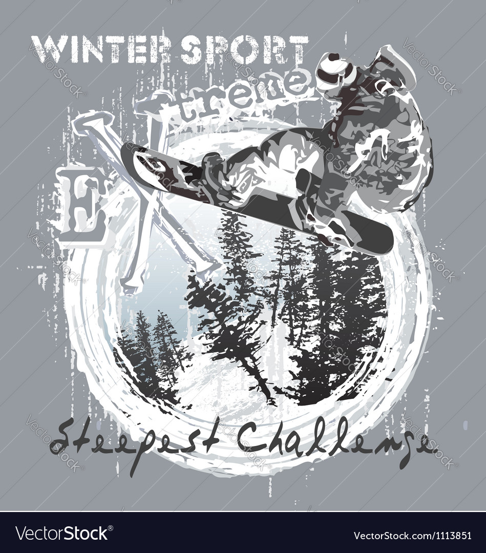 Snowboard over the cliff vector image