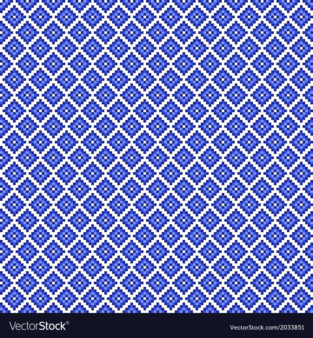 Traditional blue pixel seamless square pattern