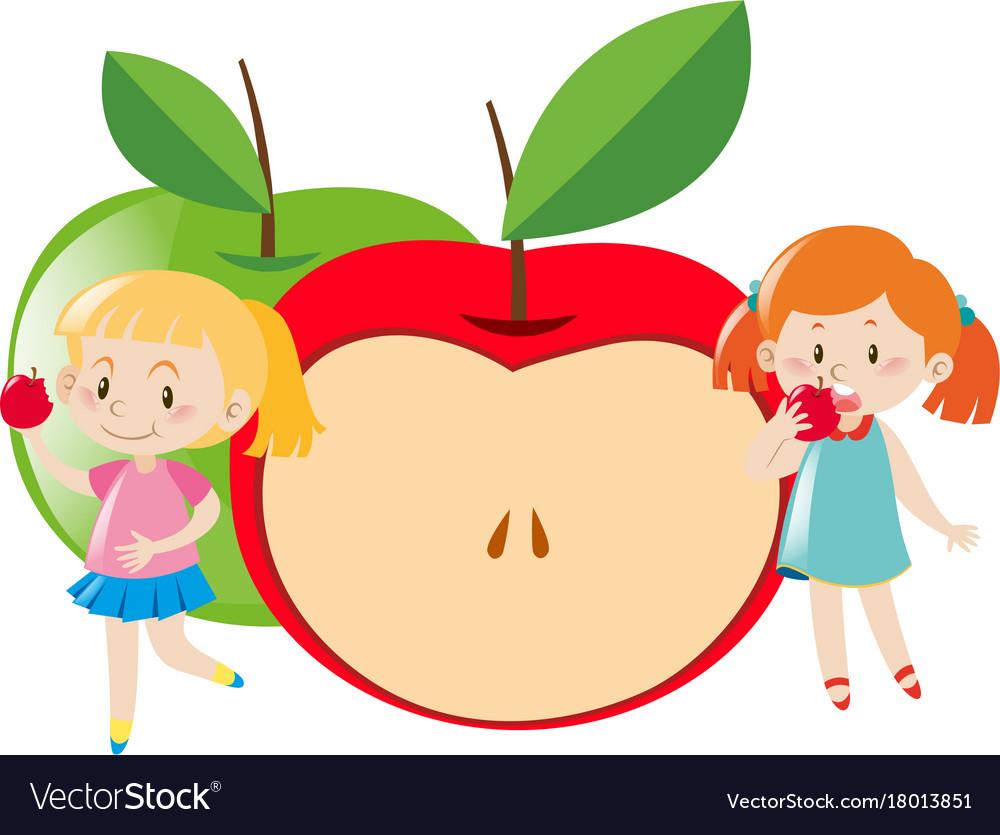 Two Girls Eating Apple