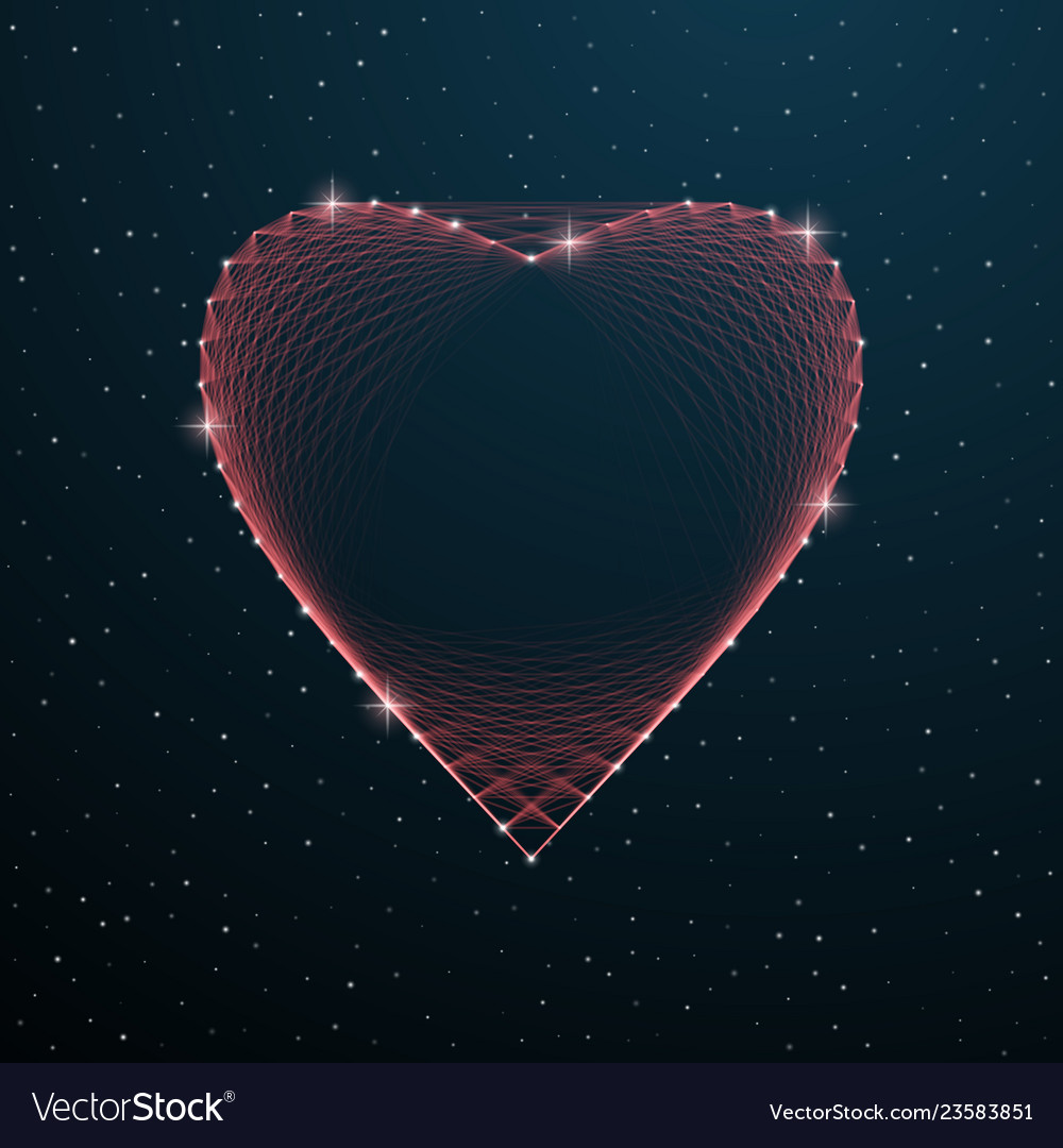 Valentines day polygonal heart shape with dots