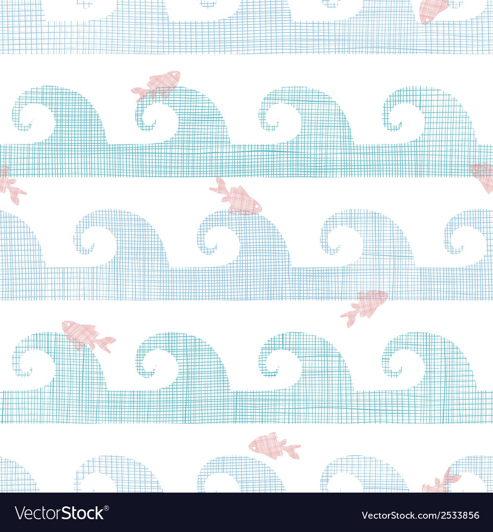 Abstract textile fish among waves seamless pattern