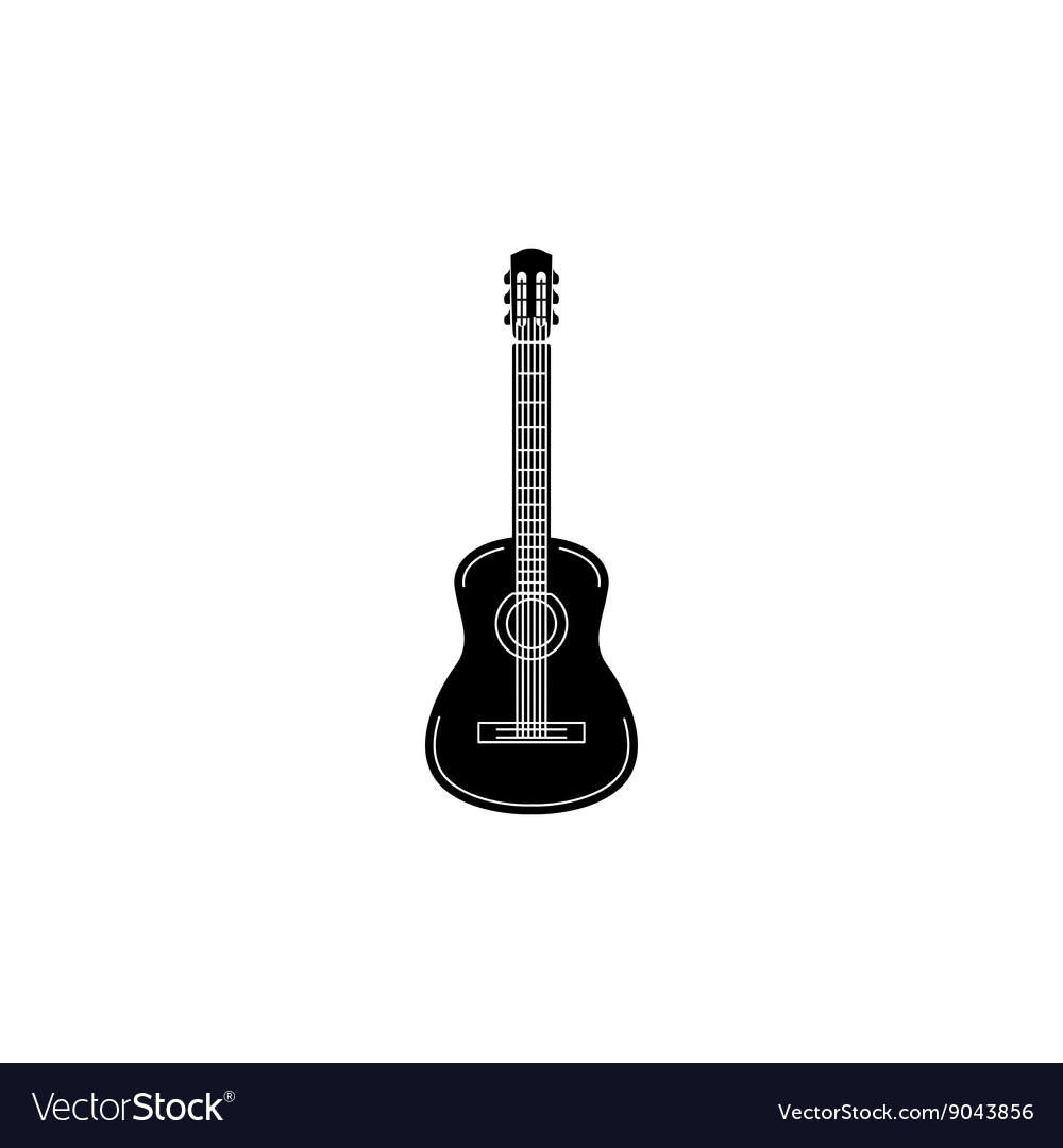 Acoustic guitar icon black simple style