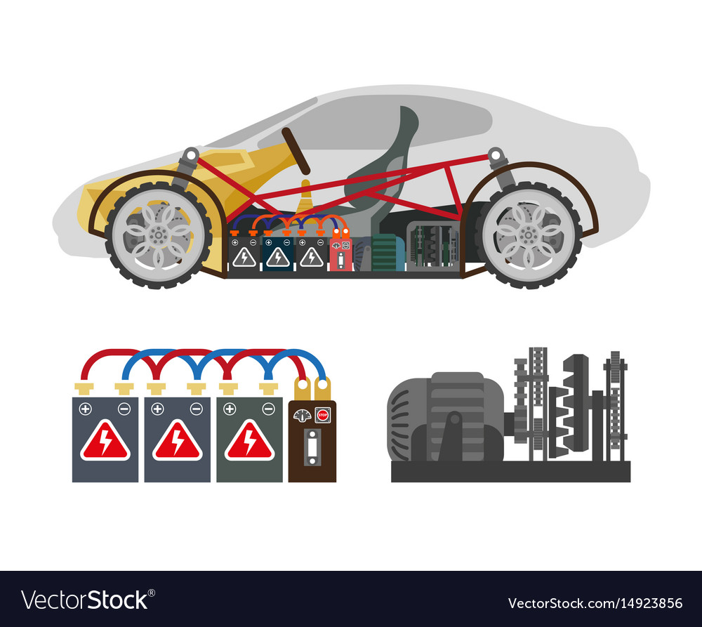 Auto inside construction scheme and its components vector image