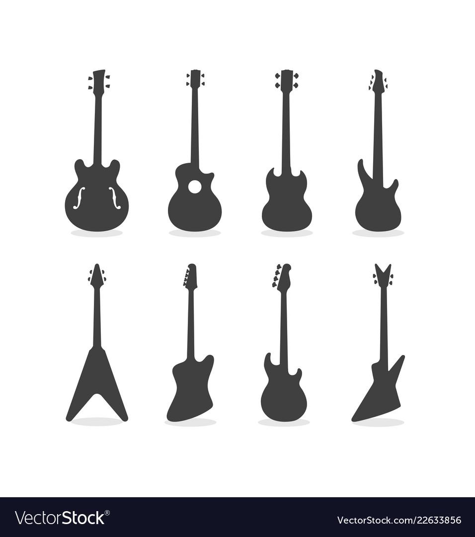 Bass guitar silhouette set