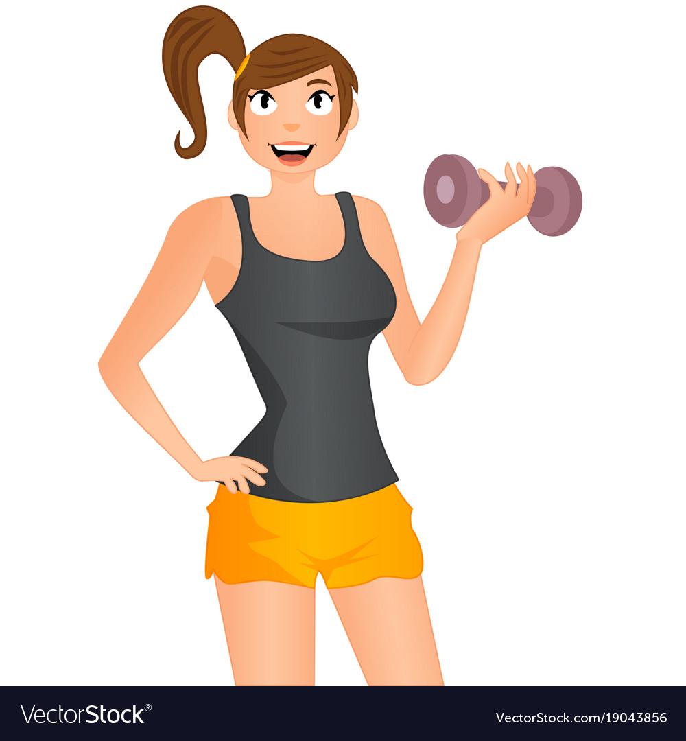 Cute cartoon girl exercising with dumbbells