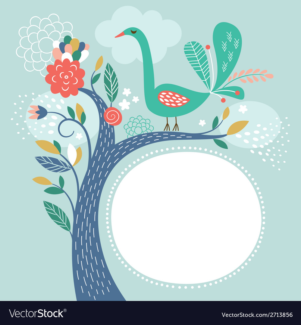 Floral with bird greeting card