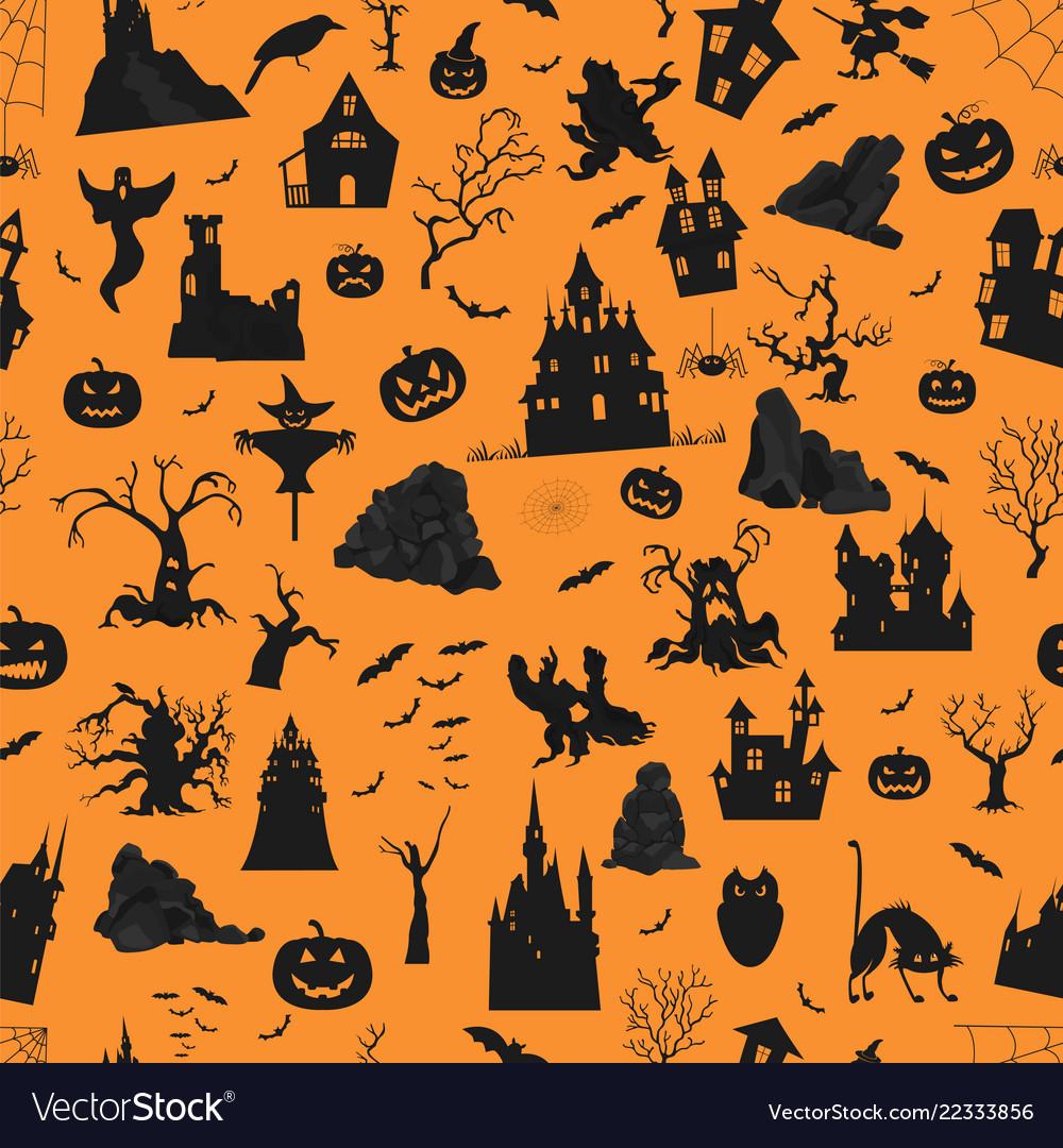 Halloween holiday orange seamless pattern flat