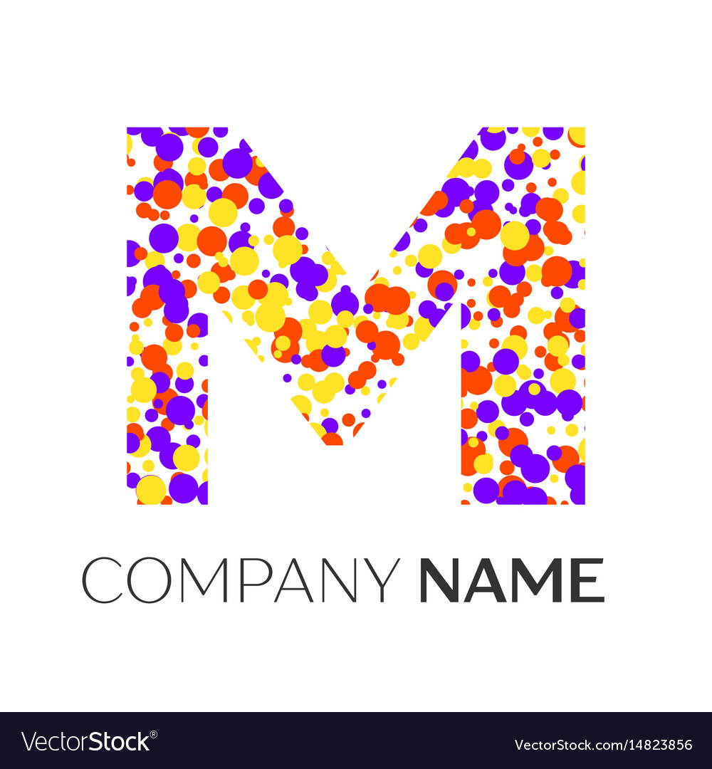 Letter m logo with purple yellow red particles vector image