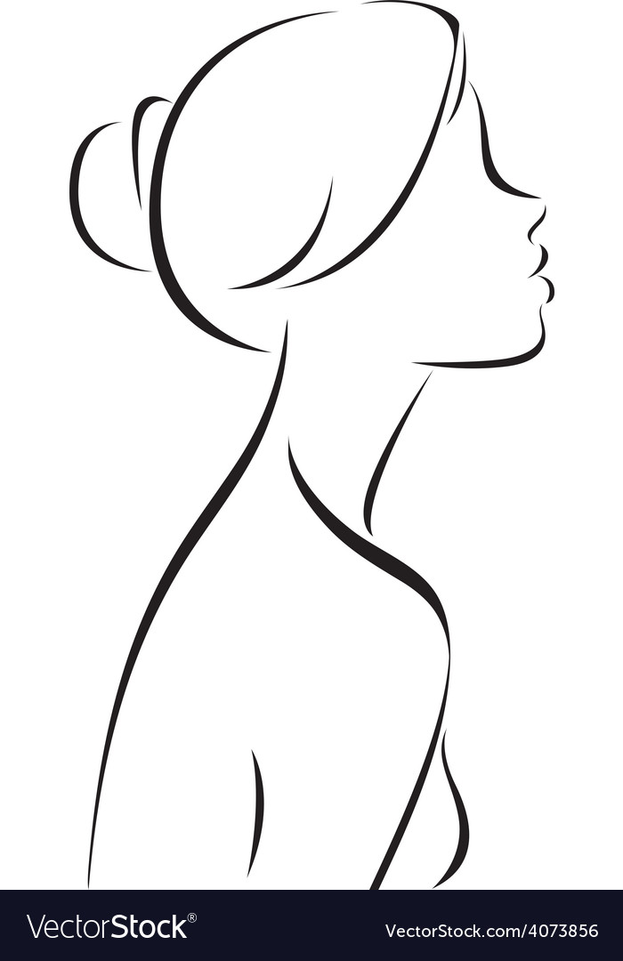 Line Drawing Of Women Profile Royalty Free Vector Image