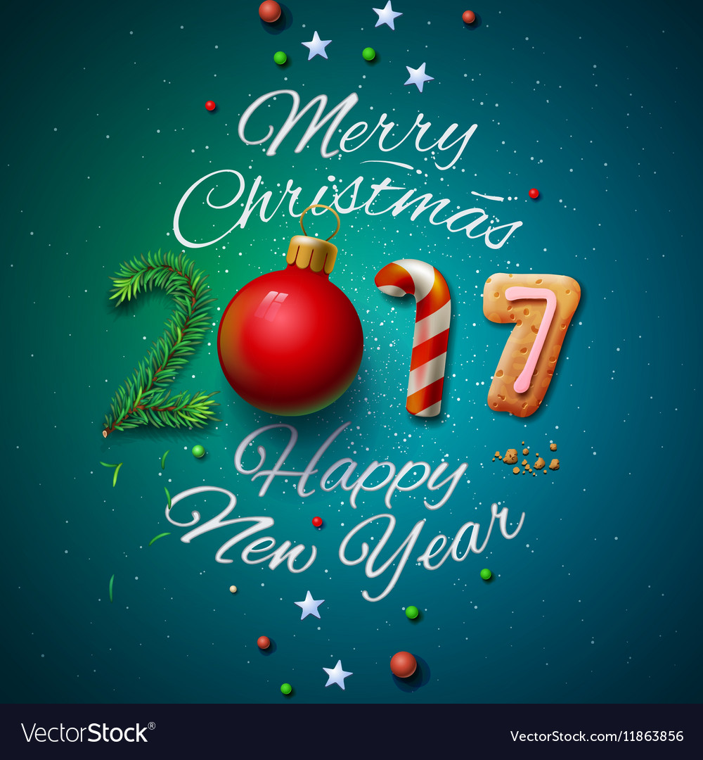 Merry Christmas and Happy New Year 2017 greeting