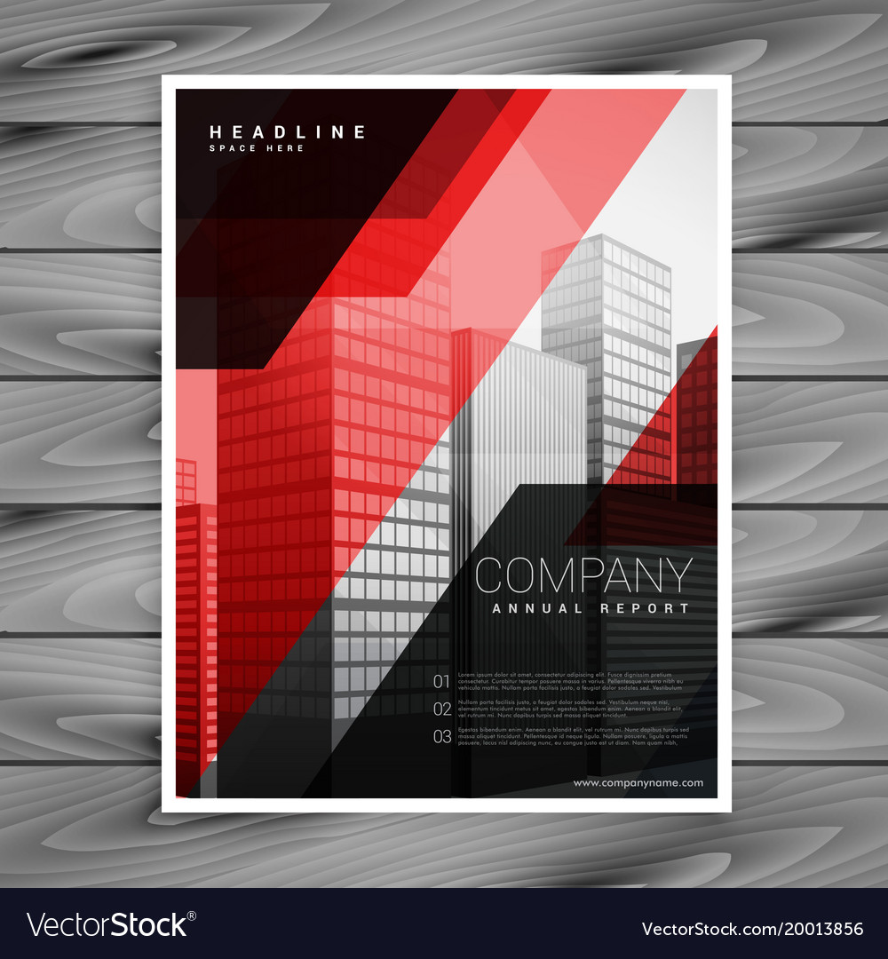 Red black abstract company brochure template vector image