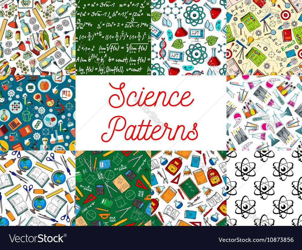 Science and education seamless patterns set