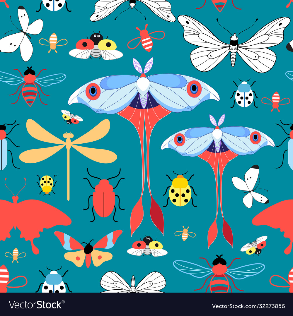Seamless graphic pattern with different insects