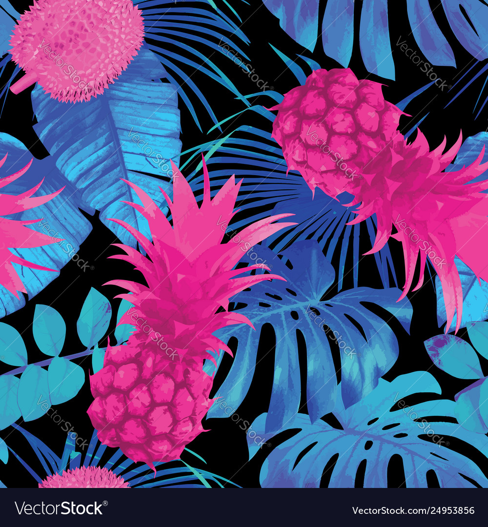 Tropical fruits and palm leaves seamless