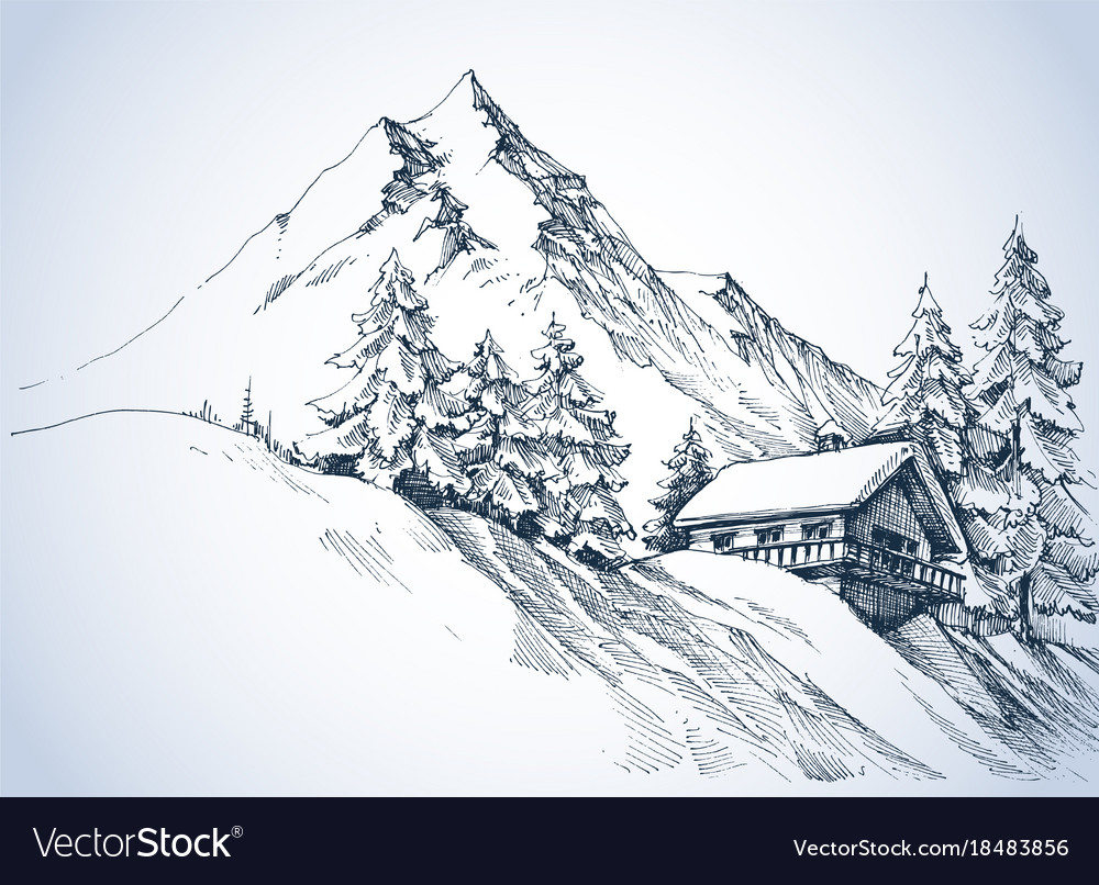 Winter landscape in the mountains and cabin