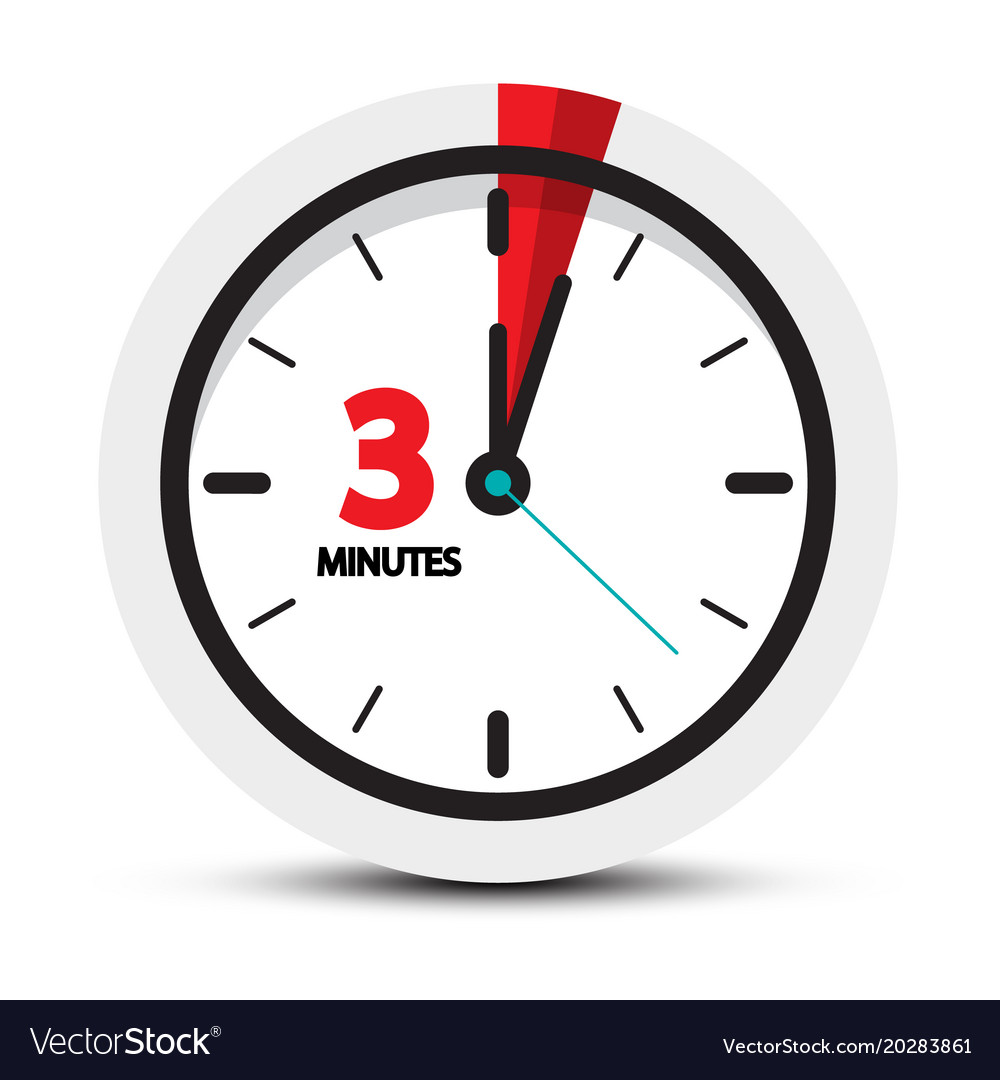 3 minutes icon clock face ith three minute symbol vector image