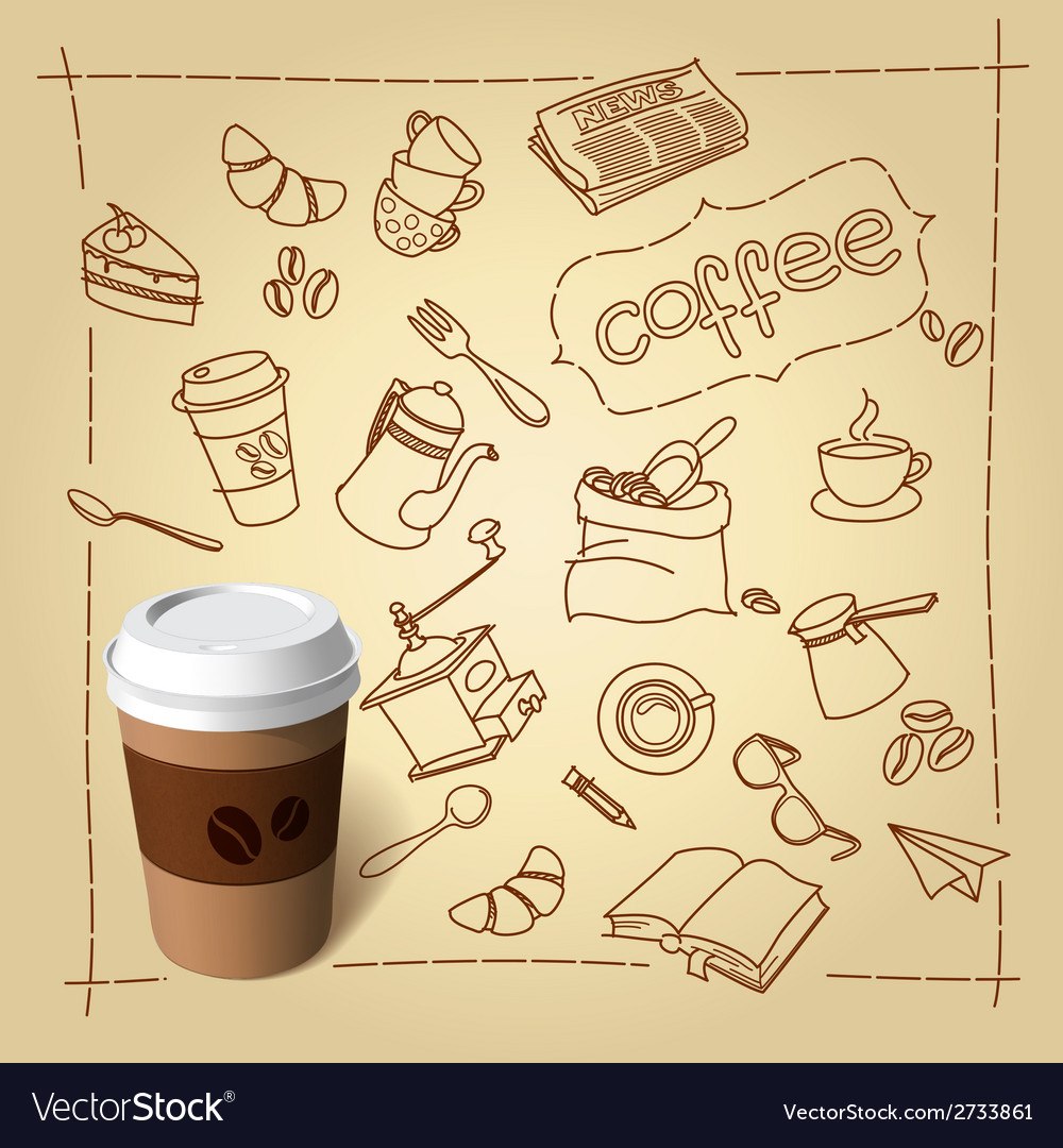 Coffee break doodles and paper cap vector image